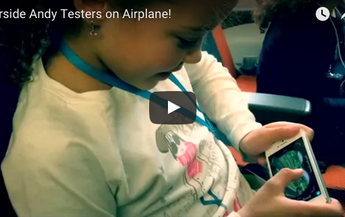 kids test Airside Andy at airport